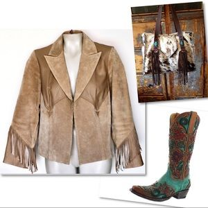 Boston Proper Jackets & Coats - BOSTON PROPER FRINGE LEATHER WESTERN RODEO JACKET